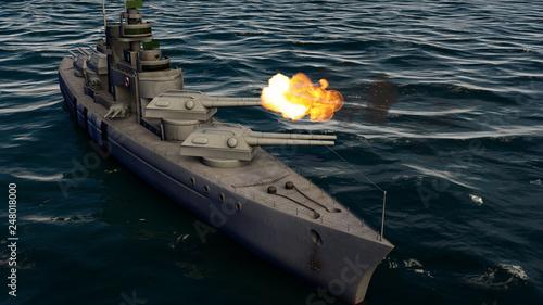 Stampa su Tela 3d illustration of a battleship firing with heavy caliber guns