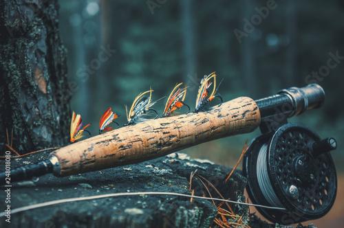 Leinwand Poster Flies for salmon fishing. Fly fishing gear.