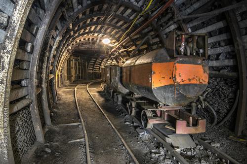 Fotografie, Obraz Illuminated, Underground Tunnel in the Mine