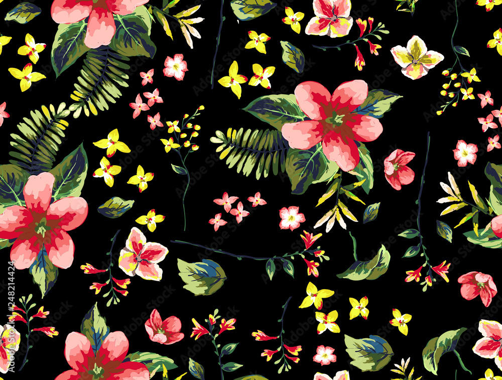 Tropical flowers with branches pattern