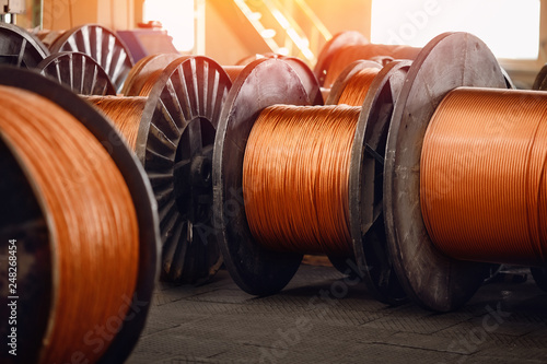 Production of copper wire, bronze cable in reels at factory Fototapeta