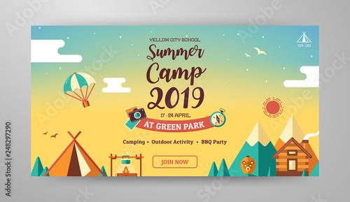 Obraz na płótnie Summer camp banner layout