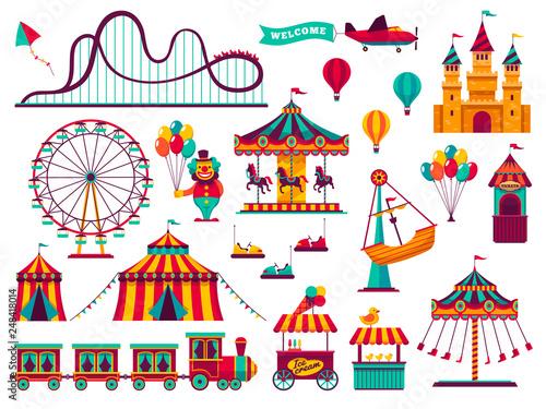 Fotografia Amusement park attractions set