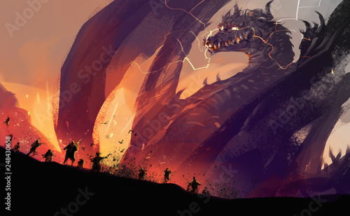 Tablou Canvas Digital illustration painting design style peoples against a huge dragon with destroyed town
