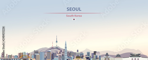 Photo Vector illustration of Seoul city skyline on colorful gradient beautiful day sky