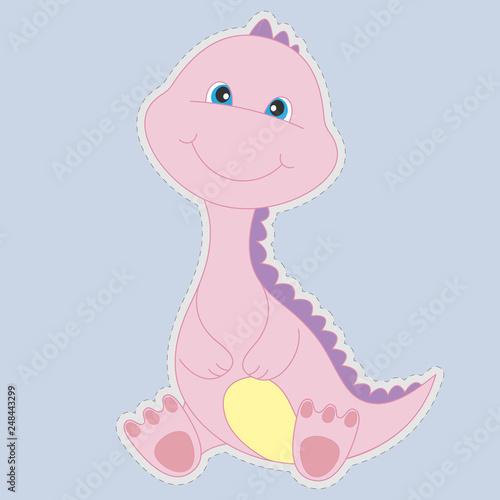 Różowy ładny i szczęśliwy dinozaura dziecko na białym tle na niebieskim tle.