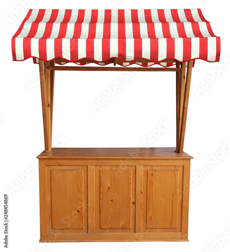 Obraz na plátně Wooden market stand stall with red white striped awning