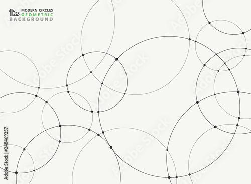 Obraz na plátně Abstract simple black circle connection futuristic background.