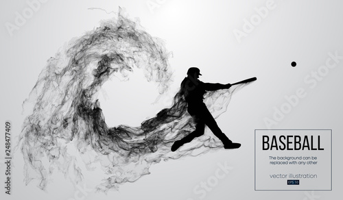 Canvas Print Abstract silhouette of a baseball player batter on white background from particles, dust, smoke