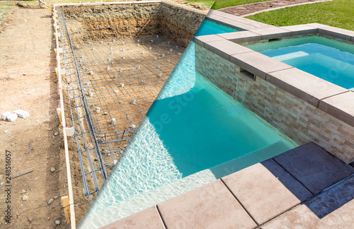 Fényképezés Before and After Pool Build Construction Site
