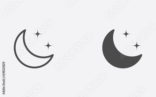 Vászonkép Half moon outline and filled vector icon sign symbol