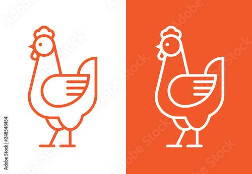 Photo Outline hen icon. Chicken linear logo.