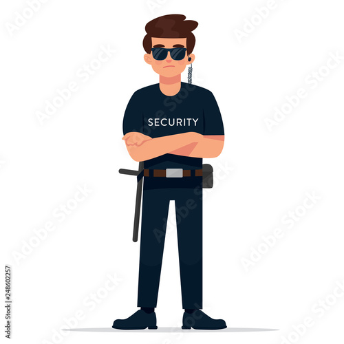 Wallpaper Mural vector illustration of standing man as a security