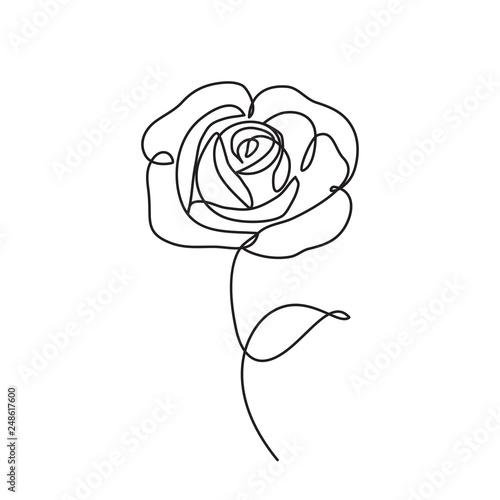 Canvas Print rose line icon