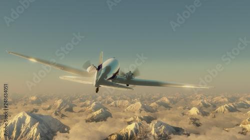 Fotografie, Obraz Airplane above the mountains