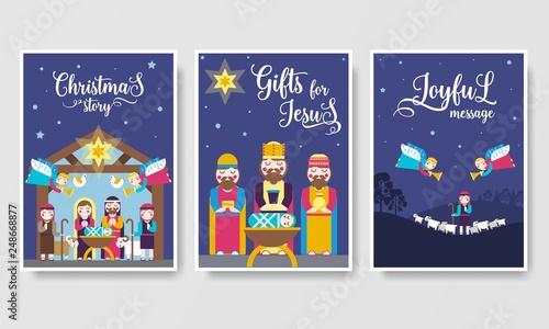 Obraz na plátně Merry Christmas  vector brochure cards set