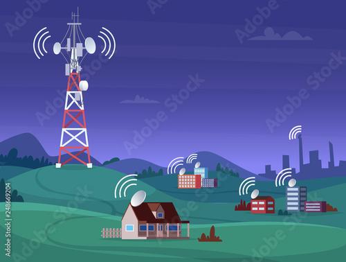 Stampa su Tela Landscape wireless tower