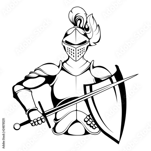 Obraz na płótnie Knight Mascot Graphic, knight warrior in armor and with a sword in his hand, sui