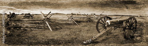 Leinwand Poster Simulated vintage photograph of Gettysburg Battlefield