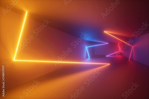 3d rendering, yellow red bl...
