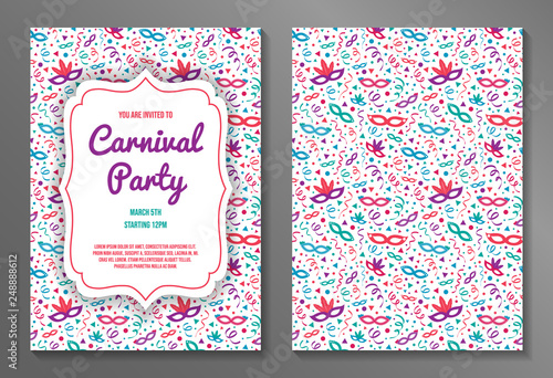 Fotografiet Colorful two-sided Carnival Party invitation. Vector