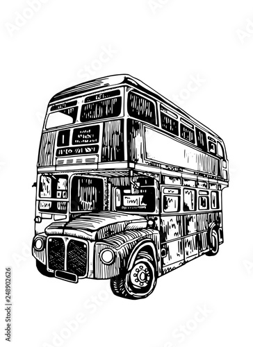 Graphical double decker bus isolated on white background,vector sketch of london фототапет