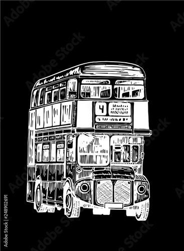Photo Graphical double decker bus isolated on black background,vector sketch of london