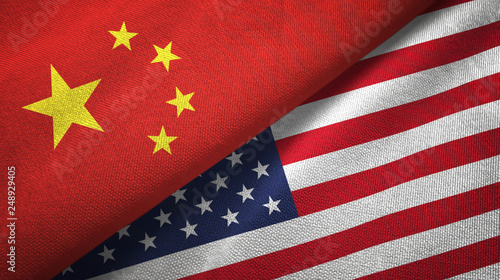 Obraz na płótnie China and United States two flags textile cloth, fabric texture