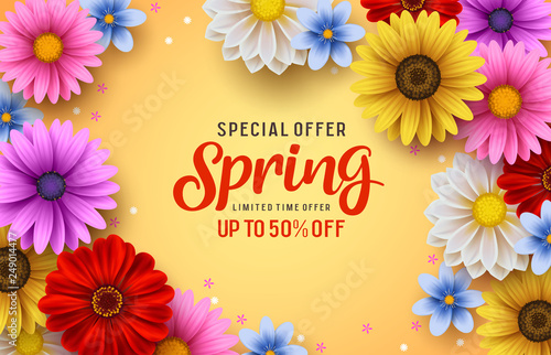 Spring special offer vector banner background with spring season sale text and colorful chrysanthemum and daisy flowers elements in yellow background. Vector illustration.