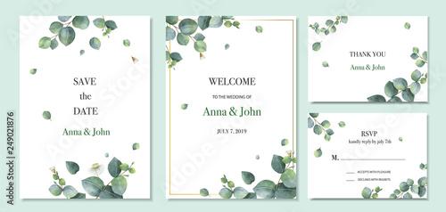 Fototapeta Watercolor vector set wedding invitation card template design with green eucalyptus leaves