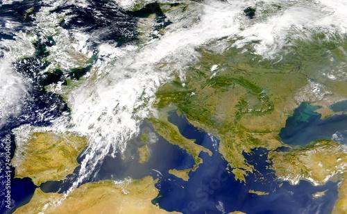 Obraz na płótnie Satellite view of the Mediterranean sea and south of Europe