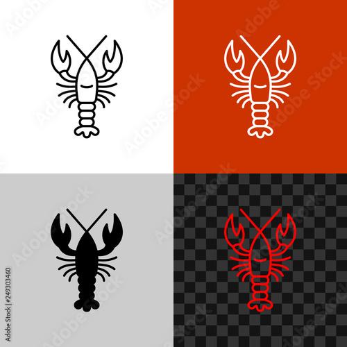 Obraz na plátně Lobster icon. Simple line lobster or crayfish.