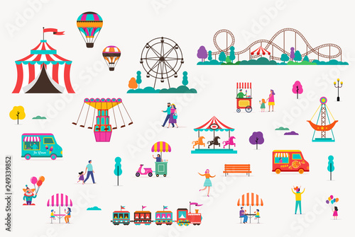 Amusement park with carousels, air balloons and roller coaster Fotobehang