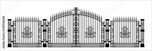 Foto Black silhouette of gothic cemetery gate with ornament