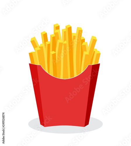Photo French Fries potato fast food in Red Carton Package Box Isolated on White backgr
