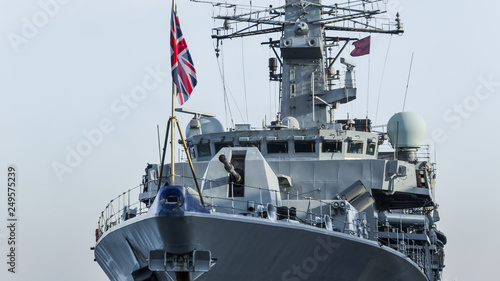 Canvas Print WARSHIP - Frigate at the port wharf