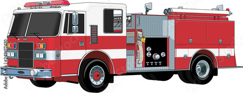 Obraz na plátne Fire Engine Vector Illustration