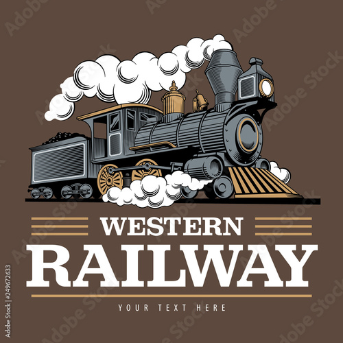 Obraz na plátně Vintage steam train locomotive, engraving style vector illustration