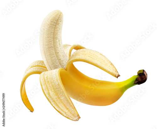 Cuadros en Lienzo Peeled banana isolated on white background with clipping path