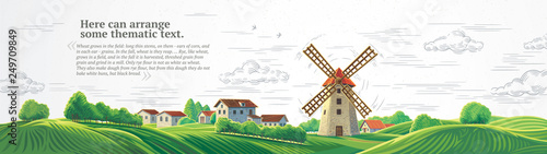Canvas-taulu Rural colorful landscape with a mill and graphically drawn monochrome sky