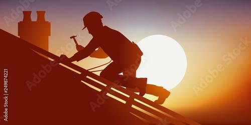 Fotografering Métier du bâtiment avec un couvreur sur le toit d'une maison qui pose des tuiles