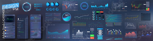 Fotografia Modern infographic vector template with statistics graphs and finance charts