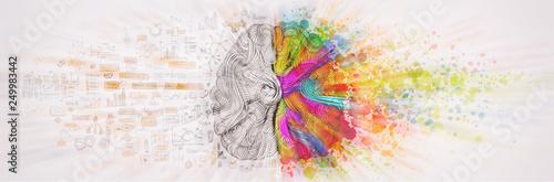 Canvas Print Left right human brain concept, textured illustration