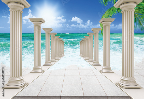 Photographie 3D Wallpaper design with cloumns and beach for mural
