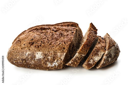 Fotografering Cut loaf of fresh bread on white background