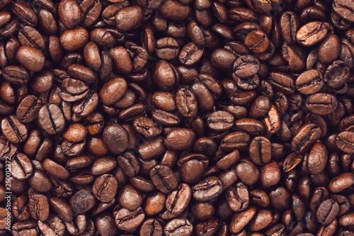 Roasted coffee beans background Fototapeta