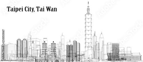 Fototapeta premium Vector Taipei City, Tajwan
