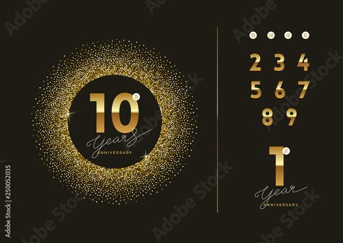 Billede på lærred Anniversary golden logo with glitter gold frame