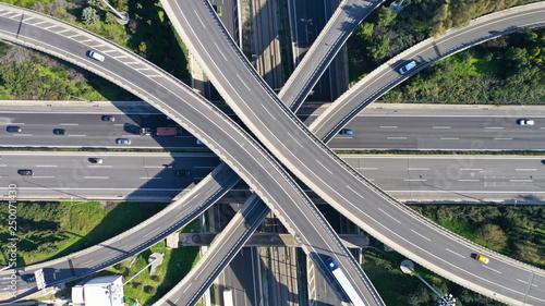 Obraz na plátně Aerial drone photo of highway multilevel junction interchange crossing road