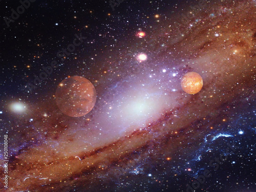 Fotografia, Obraz Spiral galaxy with planets.